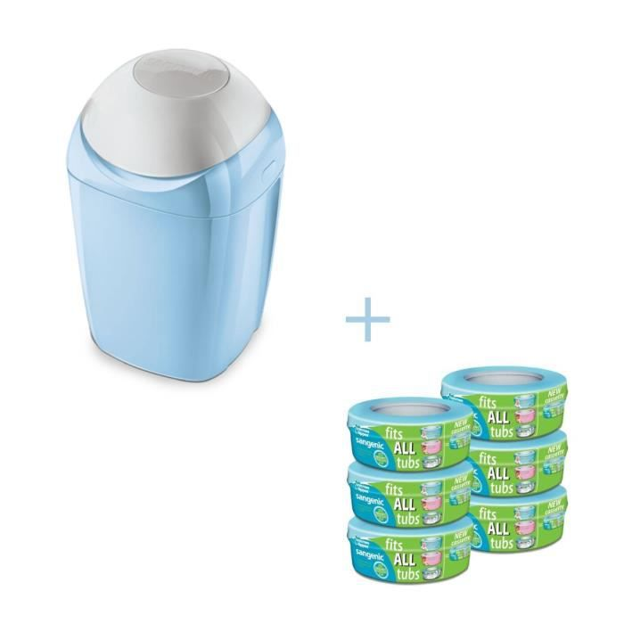 Tommee tippee bac sangenic bleu 6 recharges achat - Recharges poubelle a couches sangenic ...