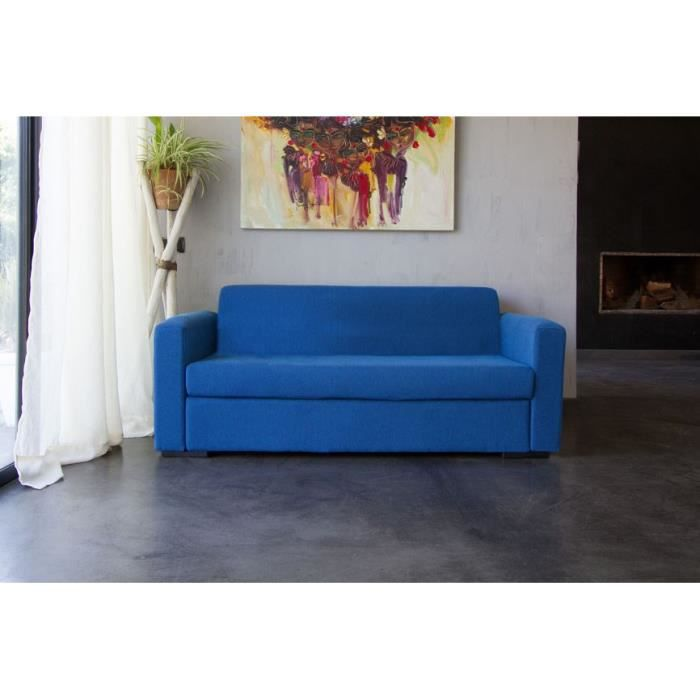 star canap droit 3 places tissu bleu achat vente canap sofa divan tissu 70 coton. Black Bedroom Furniture Sets. Home Design Ideas