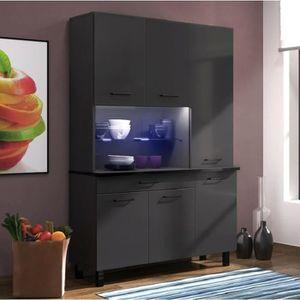 BUFFET DE CUISINE ECO Buffet  120 cm - Noir brillant et gris anthrac