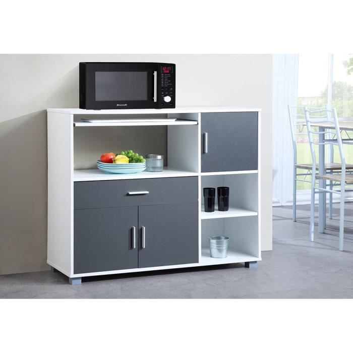 bari buffet de cuisine l 110 cm blanc et gris achat vente buffet de cuisine bari buffet. Black Bedroom Furniture Sets. Home Design Ideas