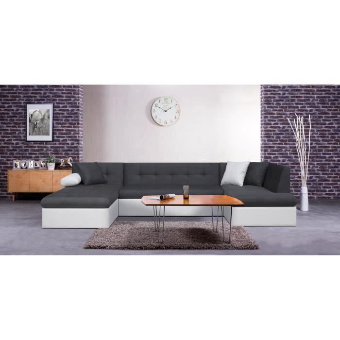 scott canap convertible simili et tissu 7 places 330x77x175 cm gris achat vente canap. Black Bedroom Furniture Sets. Home Design Ideas