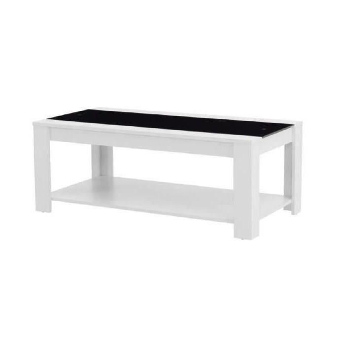Damia table basse style contemporain blanc et noir l 110 x l 55 cm achat - Table basse noir et blanc pas cher ...
