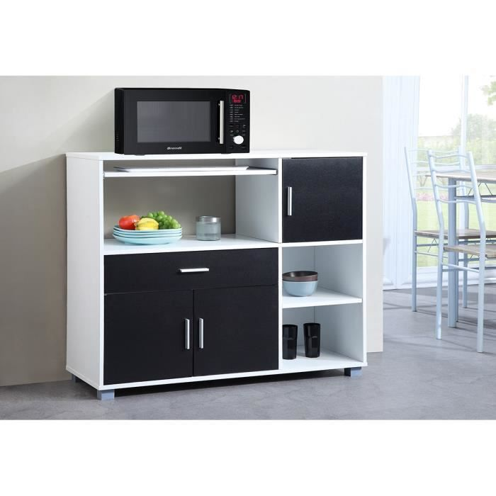 bari buffet de cuisine l 110 cm blanc et noir achat vente buffet de cuisine bari buffet. Black Bedroom Furniture Sets. Home Design Ideas