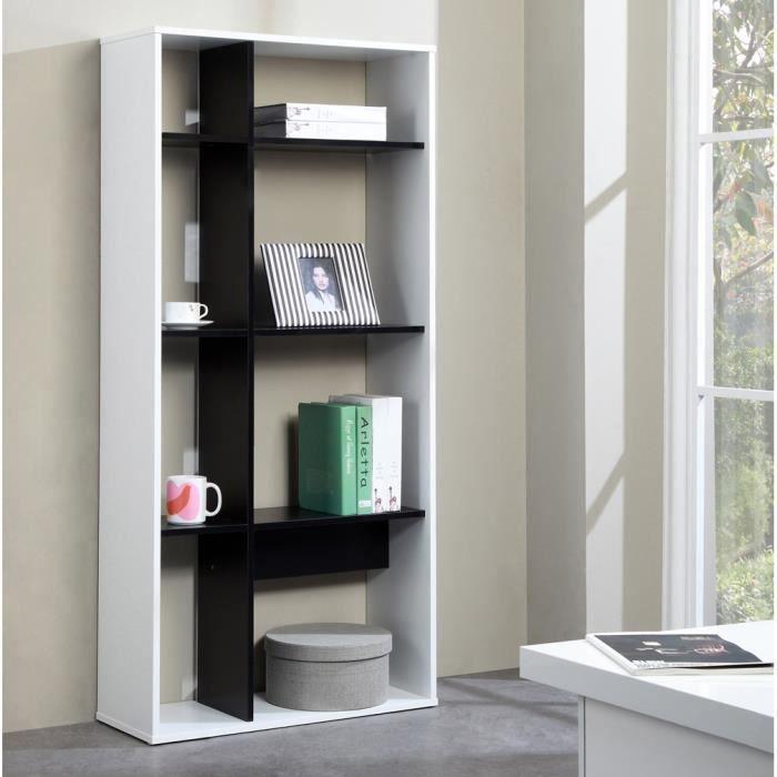 Pado etag re biblioth que 8 niches l155cm blanc noir for Meuble bibliotheque profondeur 20 cm