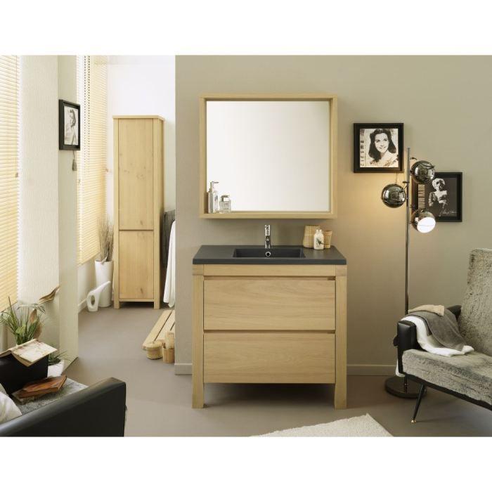 Ensemble salle de bain 3 pi ces 90 cm achat vente for Meuble a miroir salle de bain