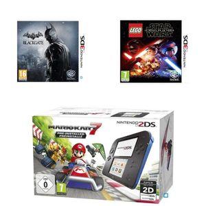 CONSOLE 2DS Pack 2DS Bleue + Mario Kart 7 + Batman Arkham + LE