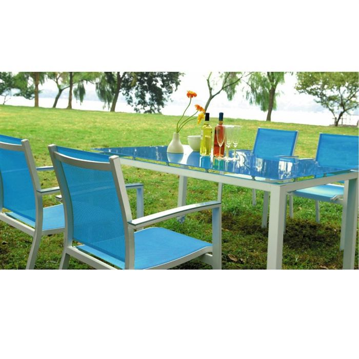 Table de jardin bleue for Table jardin bleu