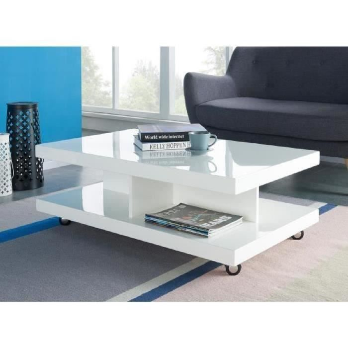 Rollup table basse sur roulettes 100x60 cm blanc - Table basse sur roulette ...