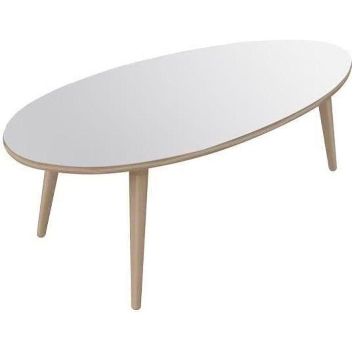 narvik table basse ovale style contemporain blanc brillant avec pieds en bois l 110 x l 55 cm. Black Bedroom Furniture Sets. Home Design Ideas