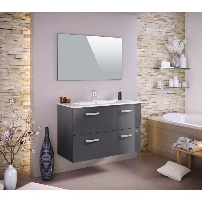 Meuble salle de bain gris laque achat vente meuble for Meuble salle de bain laque pas cher