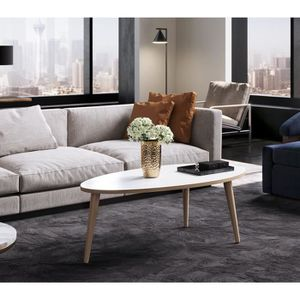 Table basse blanc ovale achat vente table basse blanc for Table ovale pas cher