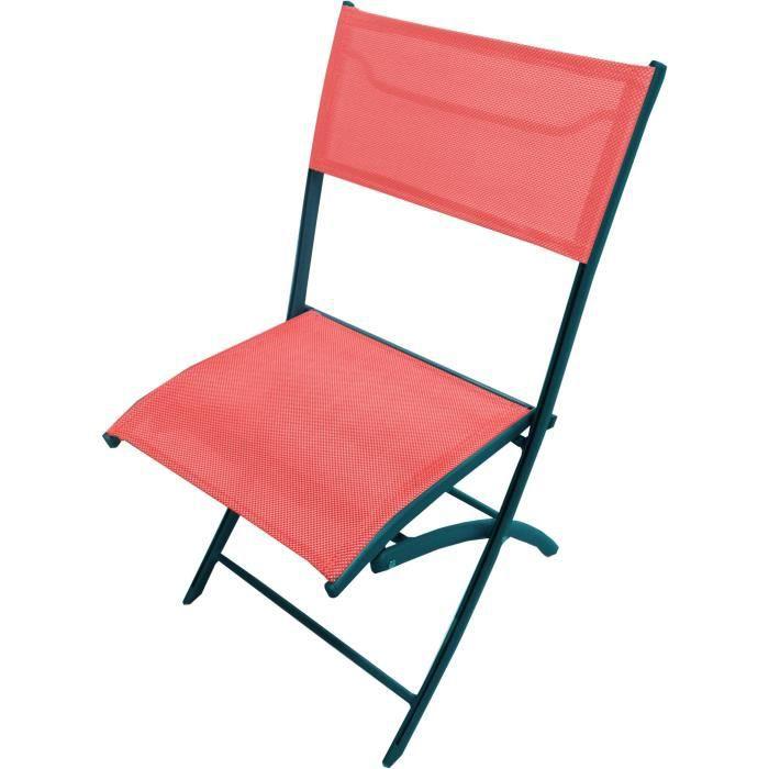 Lot de 6 chaises pliantes aluminium corail achat vente for Lot de chaises pliantes