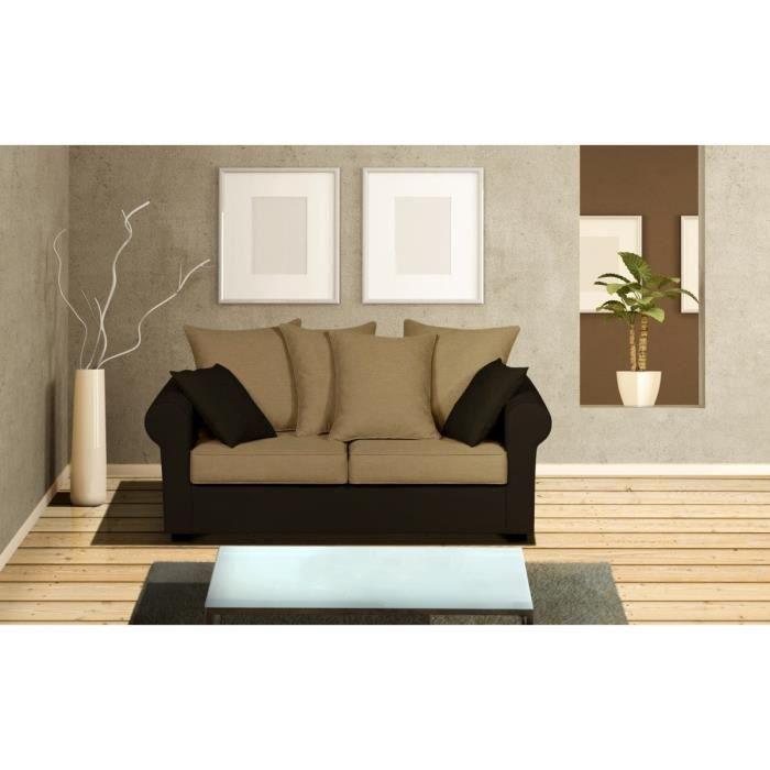 allan canap 2 places en coton 169x85x86 cm beige et marron achat vente canap sofa. Black Bedroom Furniture Sets. Home Design Ideas