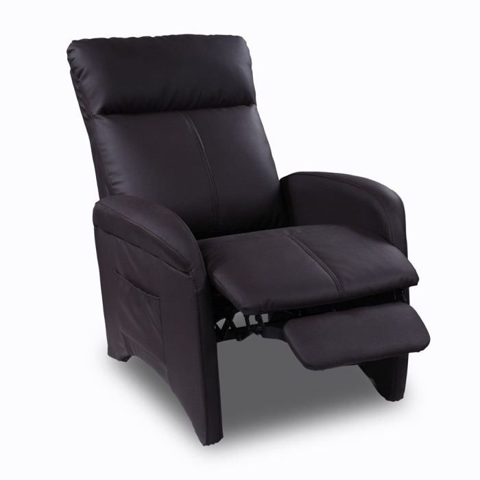 Fauteuil relaxation pu marron achat vente fauteuil fauteuil relaxation pu - Fauteuil relax marron ...