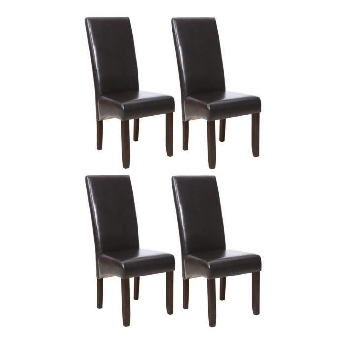 Cuba lot de 4 chaises de salle manger marron achat for Chaise de salle a manger weba