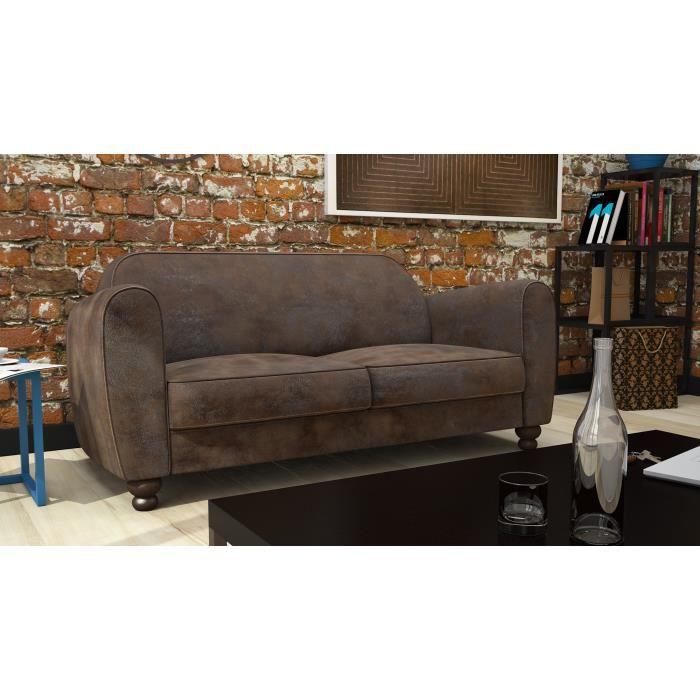 clamm canap club 3 places microfibre vieillie 176x90 cm marron achat vente canap. Black Bedroom Furniture Sets. Home Design Ideas