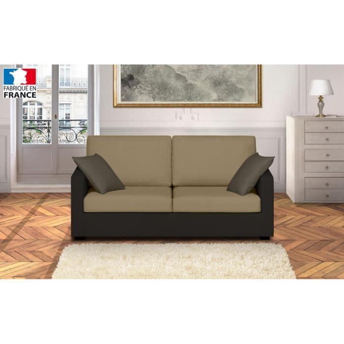 martin canap droit 3 places 175x85x86 cm tissu beige et marron achat vente canap. Black Bedroom Furniture Sets. Home Design Ideas