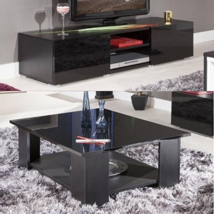 Lime salon complet laqu noir 2 pi ces 1 meuble tv 140cm - Meuble salon noir laque ...