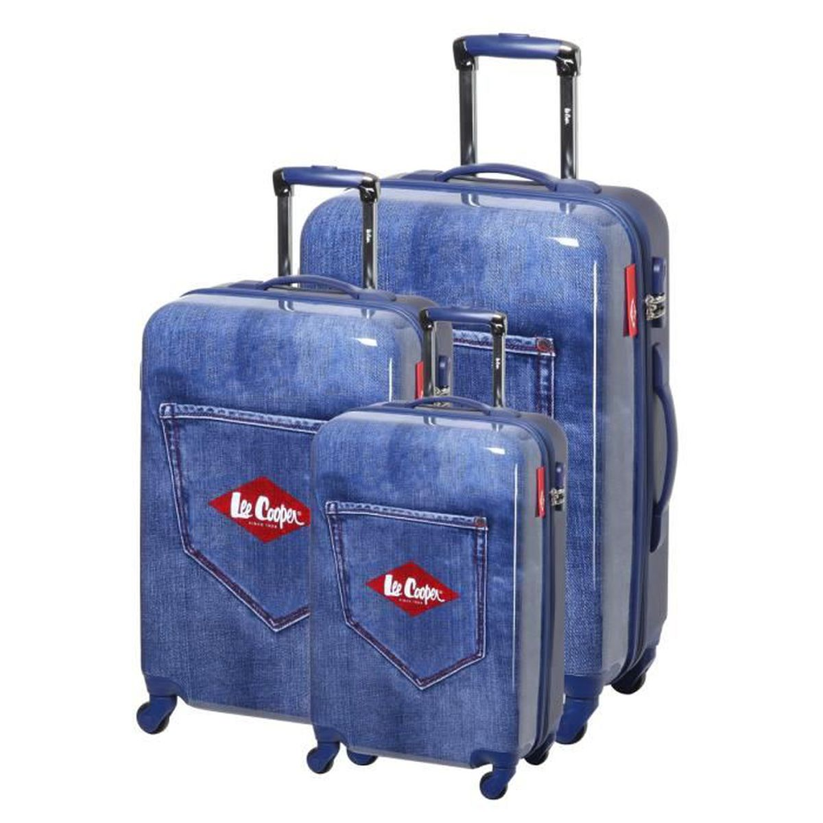 lee cooper set de 3 valises rigide abs polycarbonate 4 roues 49 59 69cm denim noir noir. Black Bedroom Furniture Sets. Home Design Ideas
