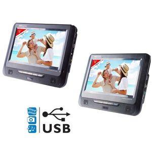 """LECTEUR DVD PORTABLE TAKARA VRT179 Lecteur DVD portable 2 écrans 9"""" USB"""