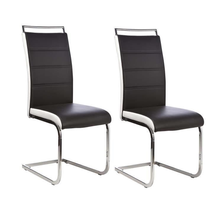 dylan lot de 6 chaises salon noir blanc achat vente chaise cdiscount. Black Bedroom Furniture Sets. Home Design Ideas