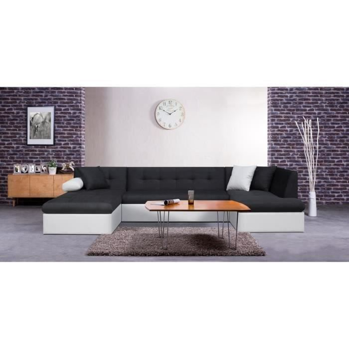 finlandek canap leve convertible simili et tissu 7 places 330x77x175 cm achat vente. Black Bedroom Furniture Sets. Home Design Ideas