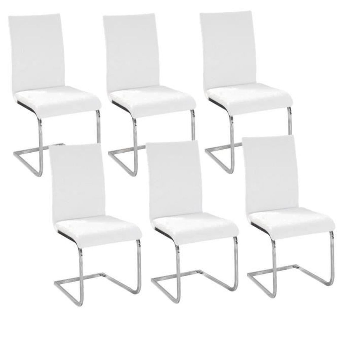 lea lot de 6 chaises de salle manger blanches achat. Black Bedroom Furniture Sets. Home Design Ideas
