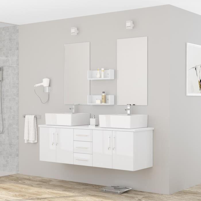 diva ensemble salle de bain double vasque l 150 cm laqu. Black Bedroom Furniture Sets. Home Design Ideas