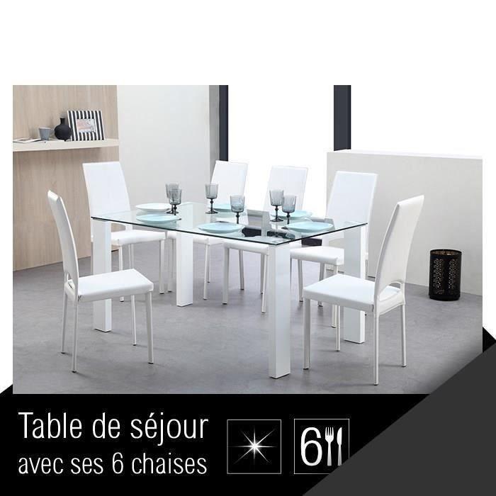 Freeze ensemble table manger 6 chaises en simili blanc for Table en verre 6 chaises