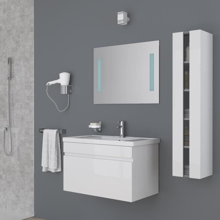 Meuble salle de bain blanc achat vente meuble salle de for Meuble salle de bain 80 cm pas cher