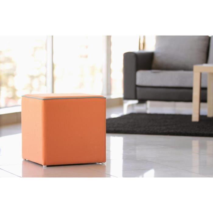 pouf orange carr en toile avec passe poil achat vente pouf poire toile soldes d t. Black Bedroom Furniture Sets. Home Design Ideas