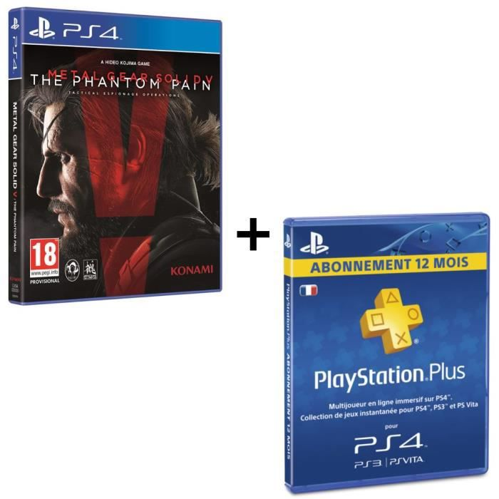 pack metal gear solid v the phantom pain ps4 abonnement playstation plus 12mois achat. Black Bedroom Furniture Sets. Home Design Ideas
