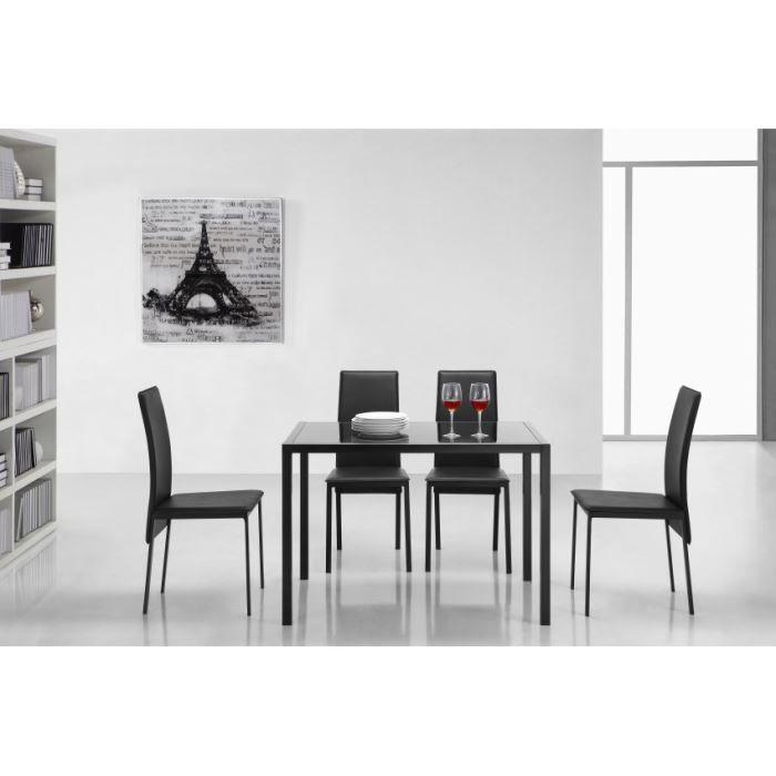 Caroline table rectangulaire 100x70cm noire achat vente table de cuisine - Table de cuisine noire ...
