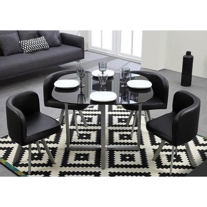 Cosmic table manger 4 chaises noires achat vente for Table a manger 120x70