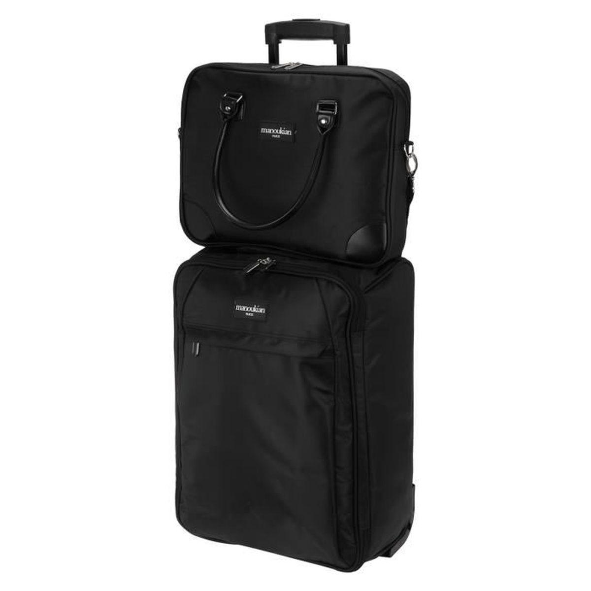manoukian valise cabine 2 roues 50 cm noir sacoche ordinateur noir achat vente set de. Black Bedroom Furniture Sets. Home Design Ideas