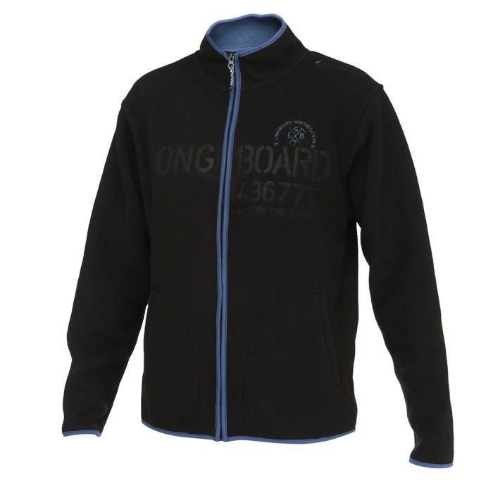 longboard veste sweat zipp e polaire homme noir achat. Black Bedroom Furniture Sets. Home Design Ideas
