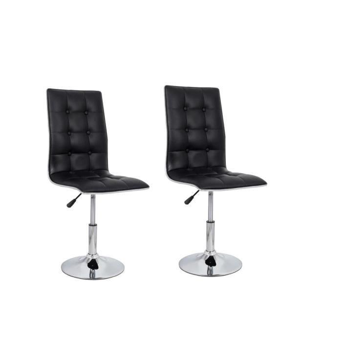 CHAISE LEAF Lot de 2 chaises de salle à manger en simi...