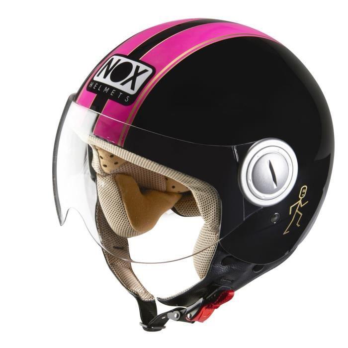 nox n210 casque jet noir fluo rose achat vente casque moto scooter nox n210 casque jet noir. Black Bedroom Furniture Sets. Home Design Ideas