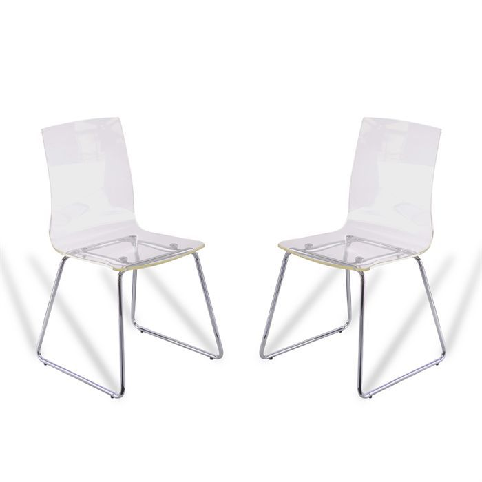 Lot de 2 chaises acrylique tim transparentes achat for Soldes chaises transparentes