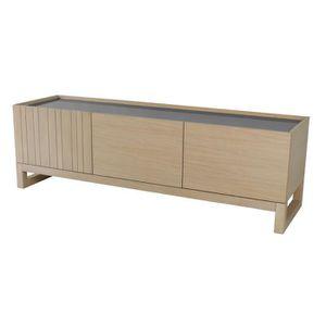 Meuble tv chene gris achat vente meuble tv chene gris pas cher les sold - Meuble tv bois massif contemporain ...