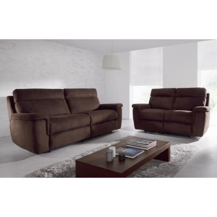 quimper ensemble canap s droits de relaxation 3 2 places 215x102x103 cm et 168x102x103 cm. Black Bedroom Furniture Sets. Home Design Ideas