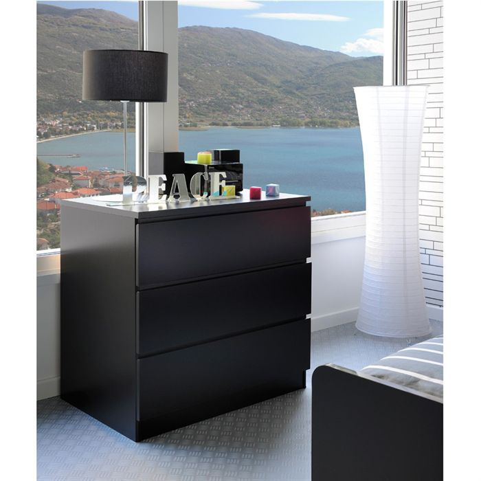 star commode 3 tiroirs noire achat vente commode de chambre star commode 3 tiroirs noire. Black Bedroom Furniture Sets. Home Design Ideas
