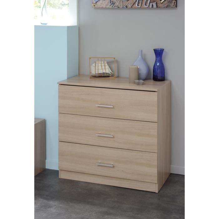 Suny commode 3 tiroirs 77 cm bruges achat vente commode de chambre suny commode 3 tiroirs - Commode cm ...