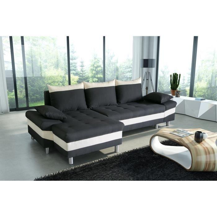 pegase canap d 39 angle convertible noir et blanc 5 places 277x144 96x90 cm achat vente canap. Black Bedroom Furniture Sets. Home Design Ideas