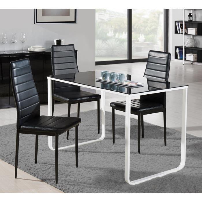 Profil table manger 120x70cm m tal et verre noir et - Table a manger verre noir ...
