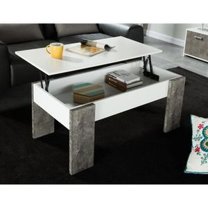 table basse blanc achat vente pas cher cdiscount. Black Bedroom Furniture Sets. Home Design Ideas