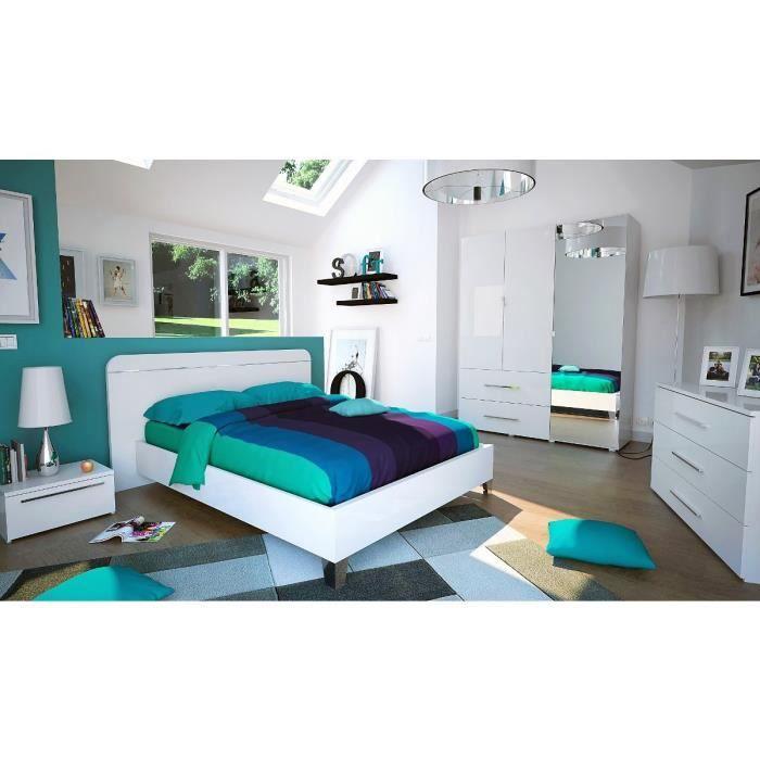 first lit 140cm laqu blanc et chrome achat vente structure de lit first lit 140cm panneaux. Black Bedroom Furniture Sets. Home Design Ideas