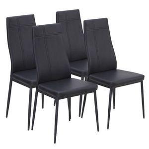 CHAISE MAT Lot de 4 chaises de salle à manger noires