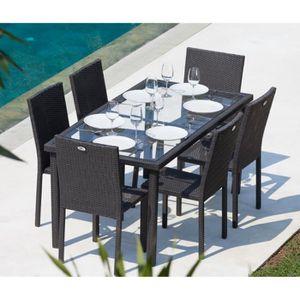 Arcachon ensemble table de jardin 6 chaises acier et - Chaise jardin resine tressee ...