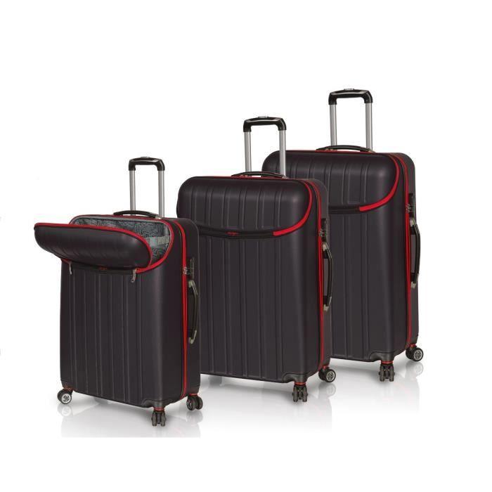 horizon set de 3 valises 4 roues 360 open noir achat vente set de valises 3700245420201. Black Bedroom Furniture Sets. Home Design Ideas